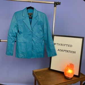 Retro Blue Leather Jacket